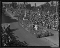 """Pilgrim Days"" float at Tournament of Roses Parade, Pasadena, California, 1936"