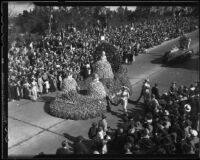 """Colonial Days"" float at Tournament of Roses Parade, Pasadena, California, 1936"