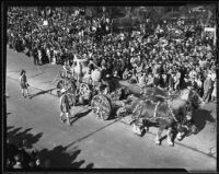 """Horse-drawn fire engine"" float at Tournament of Roses Parade, Pasadena, California, 1936"