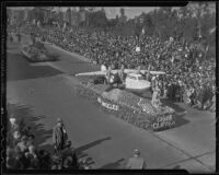 """China Clipper"" float at the Tournament of Roses Parade, Pasadena, 1936"
