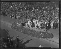 "Arcadia ""King of Sports"" horse race float at the Tournament of Roses Parade, Pasadena, 1936"