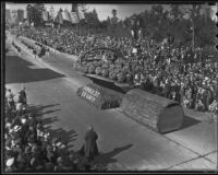"Humboldt County's ""Flowers from the Redwoods"" float at the Tournament of Roses Parade, Pasadena, 1936"
