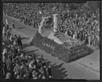 """Restoration of the La Purisima Mission"" float at the Tournament of Roses Parade, Pasadena, 1936"