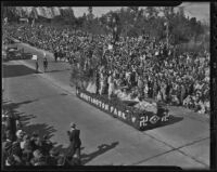 """Vanishing Race"" float at the Tournament of Roses Parade, Pasadena, 1936"