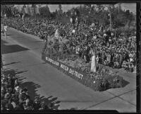 Metropolitan Water District float at the Tournament of Roses Parade, Pasadena, 1936