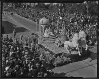 """Conquest of India"" float at the Tournament of Roses Parade, Pasadena, 1936"