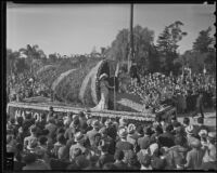 National Orange Show float at the Tournament of Roses Parade, Pasadena, 1936