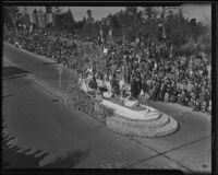 """Rose Queen"" float at the Tournament of Roses Parade, Pasadena, 1936"