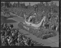"""Gondola"" float at the Tournament of Roses Parade, Pasadena, 1936"
