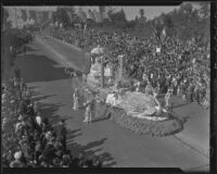 """Marie Antoinette and Louis XVI"" float at the Tournament of Roses Parade, Pasadena, 1936"