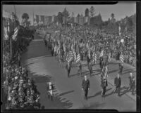 Veterans forming the color guard in Rose Parade, Pasadena, 1936