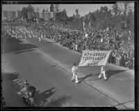 Banner announcing the 47th Annual Tournament of Roses Parade, Pasadena, 1936