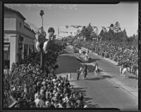 "San Diego Exposition float and ""Sutter's Fort"" float at the Tournament of Roses Parade, Pasadena, 1936"