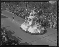 "Inglewood's ""Pioneer Memorial"" float at the Tournament of Roses Parade, Pasadena, 1936"