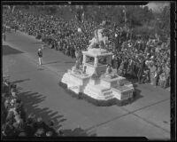 "Inglewood's ""Pioneer Memorial"" float at the Tournament of Roses Parade, Pasadena, 1936"