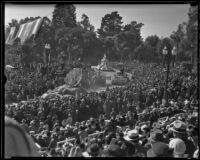 Grandstand view of floats at the Tournament of Roses Parade, Pasadena, 1936