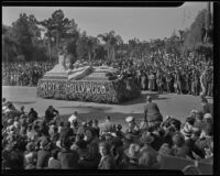 """Birth of the American Flag"" float at the Tournament of Roses Parade, Pasadena, 1936"