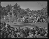 """Chinese Empress"" float in the Tournament of Roses Parade, Pasadena, 1936"