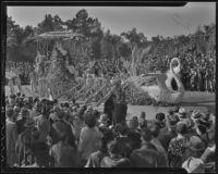 """Cleopatra"" float at the Tournament of Roses Parade, Pasadena, 1936"