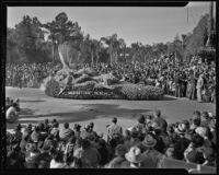 """Pink Shell"" float at the Tournament of Roses Parade, Pasadena, 1936"