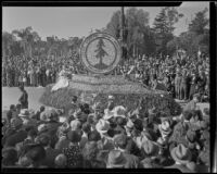"""Stanford University"" float at the Tournament of Roses Parade, Pasadena, 1936"