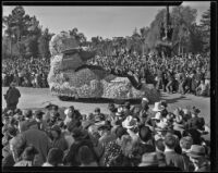 """First Pacific Airmail Flight"" float in the Tournament of Roses Parade, Pasadena, 1936"