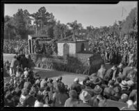 """San Fernando Mission"" float at the Tournament of Roses Parade, Pasadena, 1936"