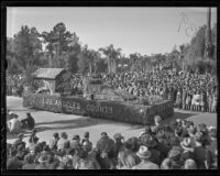 """Sutter's Fort"" float at the Tournament of Roses Parade, Pasadena, 1936"