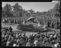 """Golden Strand of Huntington Beach"" float in the Tournament of Roses Parade, Pasadena, 1936"