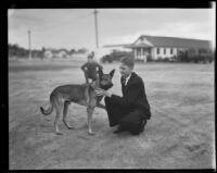 Itinerant Robert Lance with his dog King, Los Angeles, 1935-1936