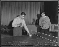 Art Johnson and John Stuffleborne play a game of table tennis, Pasadena, 1935