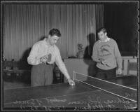 Art Johnson and John Stuffleborne play a game of table tennis, Pasadena, 1935