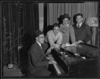 Harry Shuford, Art Johnson, John Sprague, and John Stuffleborne enjoy a song in their spare time, Pasadena, 1935