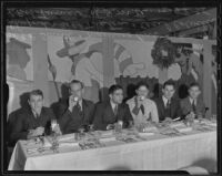 Mealtime with J.R. Smith, Maurice Orr, Harry Shuford, Bill Tipton, Cecil Colville and Bob Turner, Pasadena, 1935