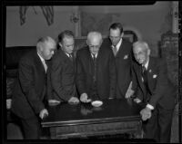 H. B. Clark, Glen Hascall, Dr. A. F. Newcomb, Frank Toothaker, and R. J. Simpson of the Anti-Saloon League, Los Angeles, 1936