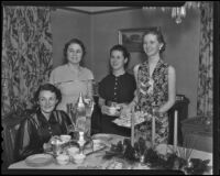 Ruth Ellen Porter, Yvonne Ramus, Lucile Dixson, and Gretchen Wellman at the annual holiday party for the Hollywood Women's Club Juniors, 1936