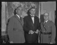 Maj. Frank C. Wood, Jr., Lt. Col. Frank E. Lowe, and Maj. George A. Benedict at the Army Navy Club, Los Angeles, 1936