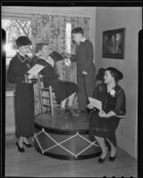 Mrs. C. G. Goodman and Mrs. Willa Prindle with Gertrude McWhinney and Robert Andrews rehearsing for entertaining the Orthopaedic Hospital for crippled children, San Marino, 1936