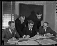 A gathering of assemblymen Roy Nielsen, Charles Lyon, Joseph Gilmore, Fred Desch, and Arthur Ohnimus, Los Angeles, 1936