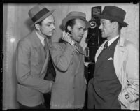 "Ron Steele, Jack Gardner, and Charles Walden, who were arrested for associating with Jim Timony's ""indecent show"", Los Angeles, 1936"