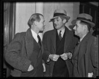 "Bernard Suss, George Ball, and Johnstone White, arrested for participating in Jim Timony's ""indecent show"", Los Angeles, 1936"