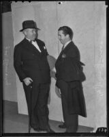 Jim Timony and Attorney John Glover after Timony's arrest over obscenity charges, Hollywood, 1936