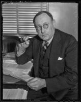 Judge Charles S. Burnell at his desk, Los Angeles, 1936
