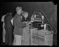 John P. McNabb tests carbon monoxide levels, Los Angeles, 1936
