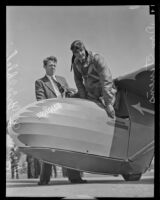 William G. Griebleb and Don Stevens just after landing, San Diego, 1936