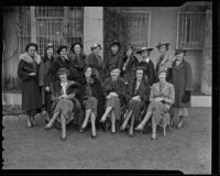 Spinsters Arlis Cowan, Janet MacLeod, Daisy Parsons, Emelie Childs, Leslie Huntington, Alene Withers, Bettie Ebbert, Carolyn Babcock, Helene Lee, Francis Callahan, Barbara McCartney, Mary Rogers, Juliet Green, Louise Hunter, and Carol Stevens gather, Los Angeles, 1936