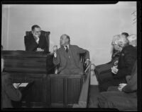 Murder suspect Samuel Whittaker appears in court, Los Angeles, 1936