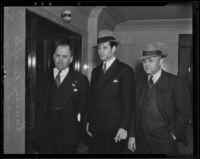 Actor Duncan Renaldo, his attorney Howard B. Henshey and Sheriff L. F. Thomas, Los Angeles, 1936