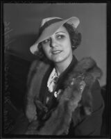 Edna Manos at the time of her divorce from James Manos, Los Angeles, 1936