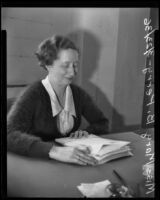 State director of National Youth Administration educational camps Mary B. Perry, San Bernardino, 1936